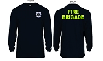 Kimberly Clark Fire Brigade T-Shirt Long Sleeve Moisture Wick Navy Mens/Unisex