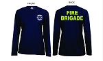 Kimberly Clark Fire Brigade T-Shirt Long Sleeve Moisture Wick Navy Women