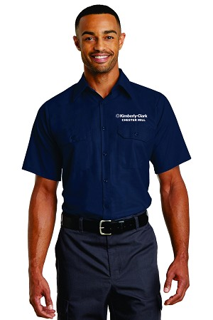 Kimberly Clark 2-Button Pocketed Poplin Ripstop Wicking Short Sleeve Navy Mens/Unisex